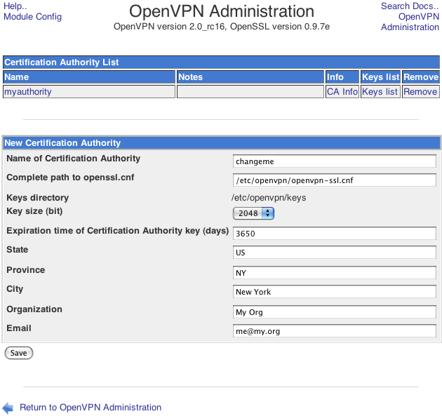 OpenVPN Certification Authority page