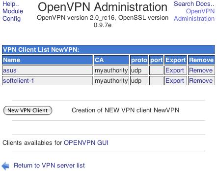 OpenVPN Client List page