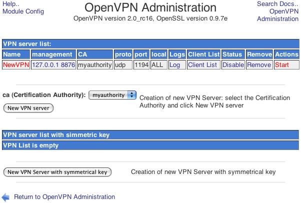 OpenVPN Server List page