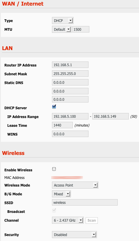 Settings portion of Basic | Network page