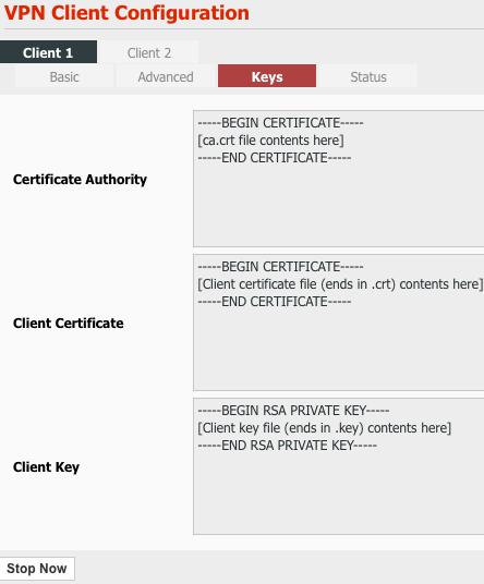 VPN | Client page, Keys tab