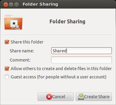 Folder Sharing options