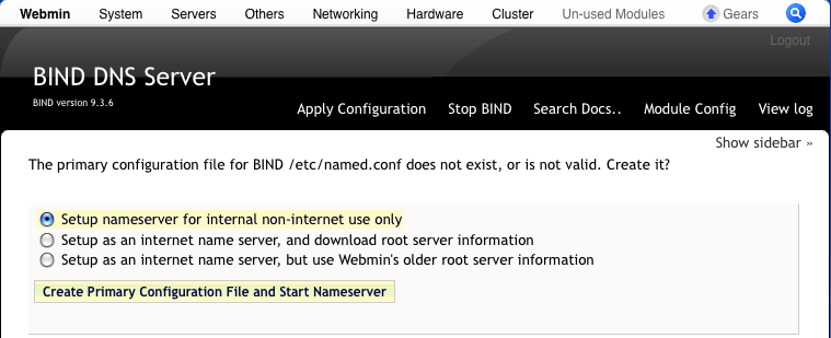 How to install the BIND DNS Server using Webmin, so Asterisk