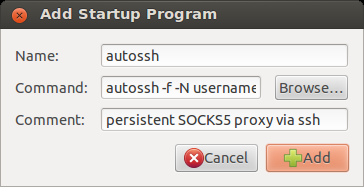 Add autossh to Startup Applications