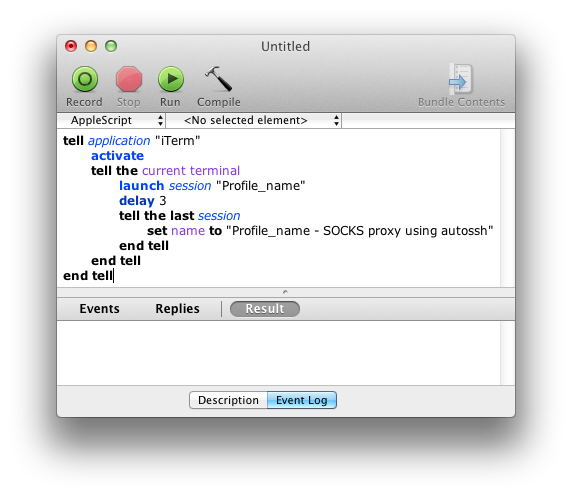 Creating iTerm launcher script in AppleScript Editor