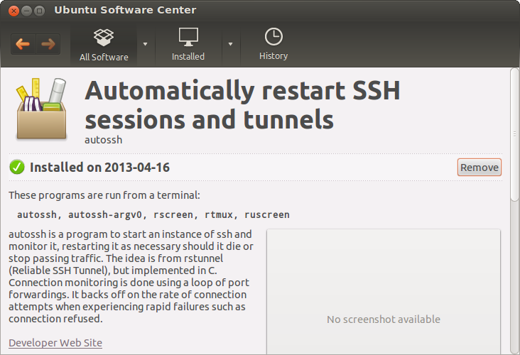 Ubuntu Software Center - autossh - installed
