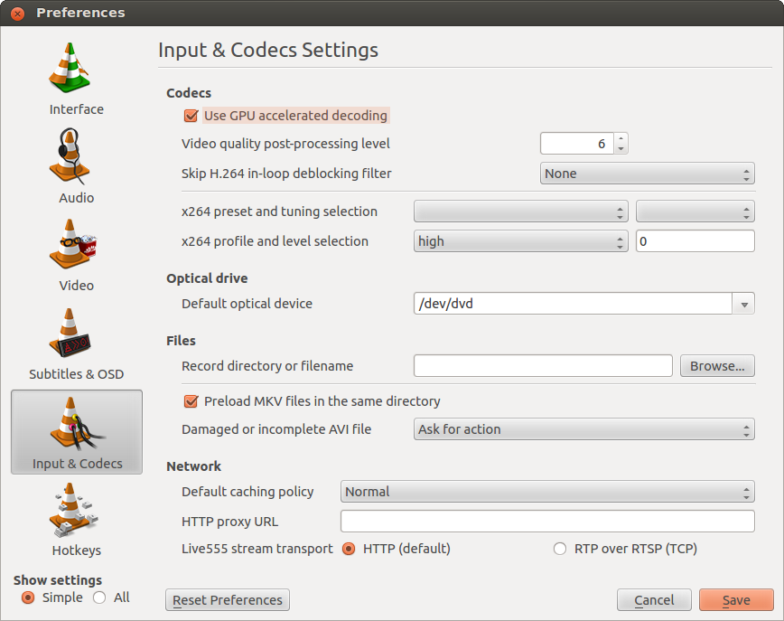 VLC Preferences — Input and Codecs settings — use GPU accelerated decoding