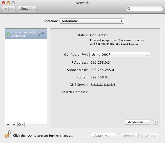 System Preferences | Network settings