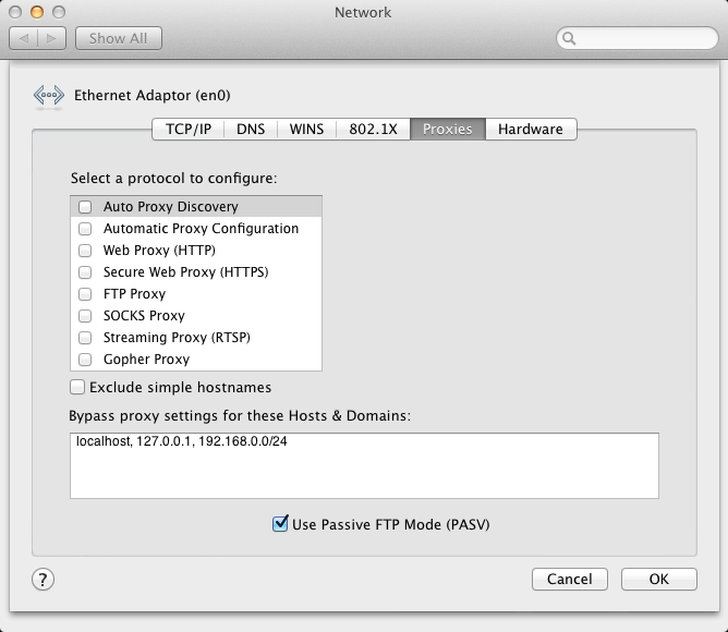 Advanced Network settings, Proxy tab