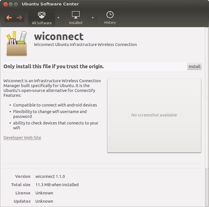 Wiconnect Install page as displayed in Ubuntu Software Center