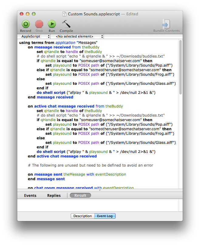 Custom Sounds AppleScript