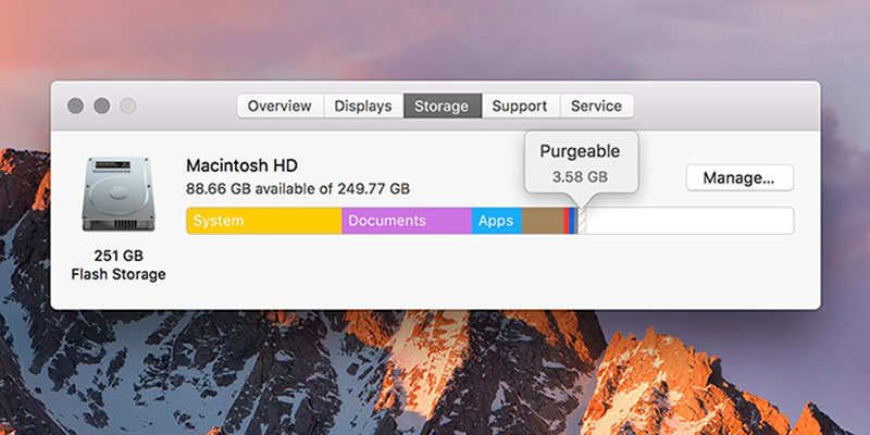 how to find purgeable files on mac